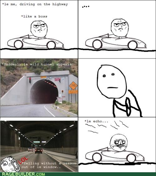 awesome,driving,me gusta,poker face,Rage Comics,tunnel