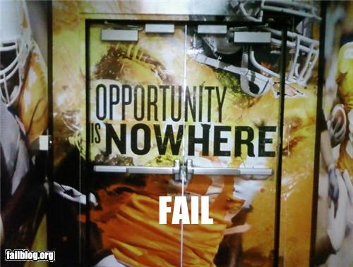 "Word Spacing FAIL The University of Tennessee football team locker room has this image painted on the doors. Instead of ""Now Here,"" it reads ""Nowhere"" :)"
