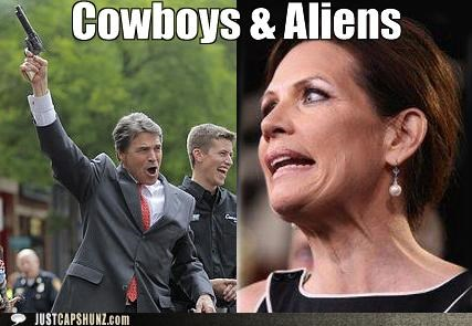 Aliens Cowboys cowboys and aliens Michele Bachmann politicians Pundit Kitchen Rick Perry - 5118393088