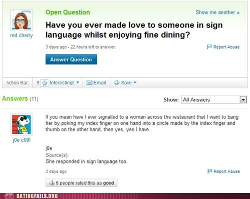 dinner restaurant sign language signals We Are Dating yahoo answers - 5118496512
