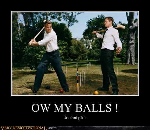 balls,brad pitt,croquet mallet,george clooney,idiots