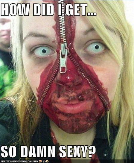 face sexy zipper