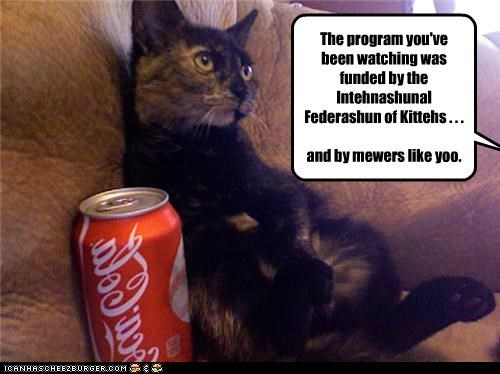 The program you've been watching was funded by the Intehnashunal Federashun of Kittehs . . . and by mewers like yoo.