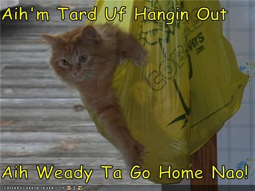 Aih'm Tard Uf Hangin Out  Aih Weady Ta Go Home Nao!