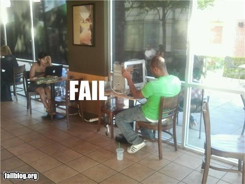 cafe,computer,failboat,g rated,laptop,overkill,Starbucks