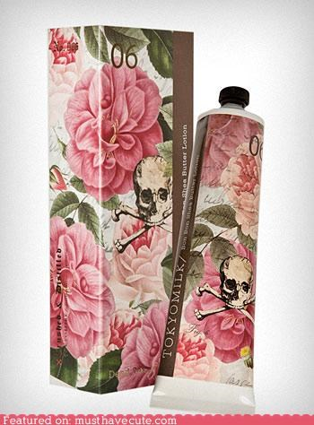 cosmetics,flowers,hand cream,packaging,skull