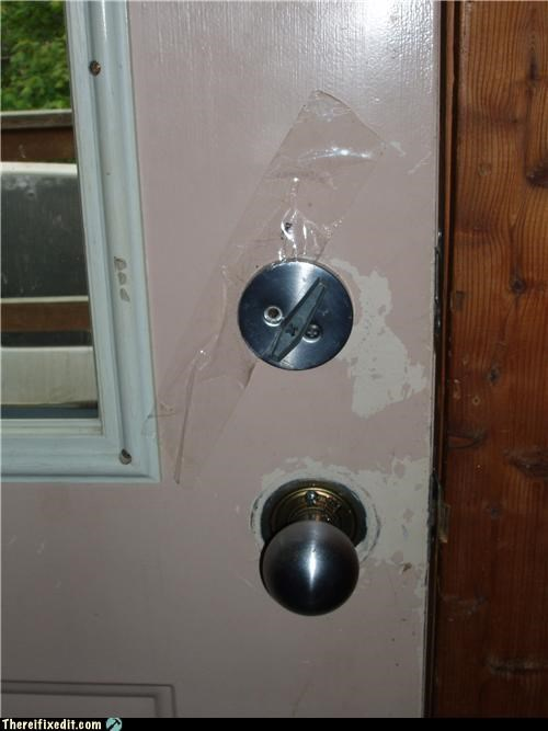dead bolt holding it up lock security tape - 5120038656