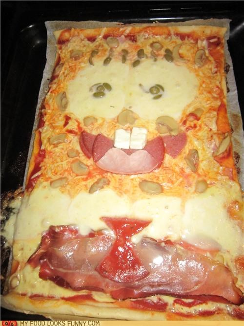 cheese,face,meat,pizza,SpongeBob SquarePants,Square,toppings