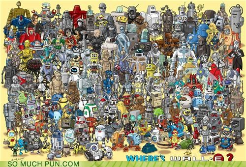 book,disney,finding,game,hiding,homage,inspired by,literalism,search,similar sounding,waldo,wall.e,wheres waldo