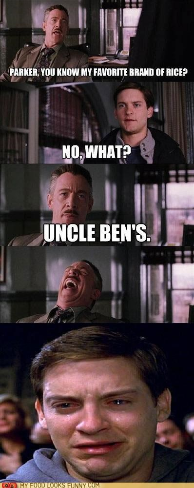 J Jonah Jameson,peter parker,rice,Sad,Spider-Man,Uncle Ben