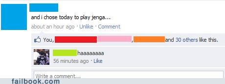earthquake,jenga,victim,witty status