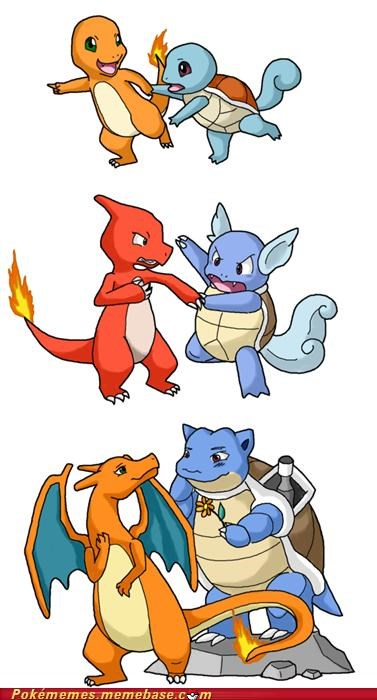 blastoise,charizard,differences,evolution,Evolve,friends,friendship