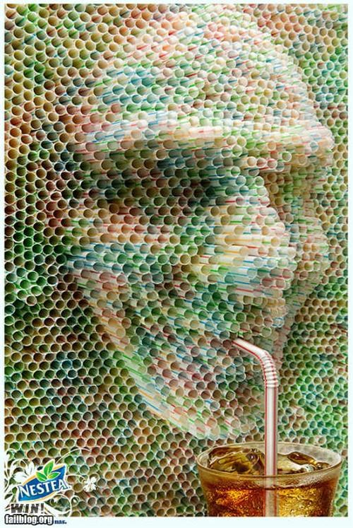 advertisement,art,design,nestea,relief,straw