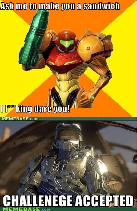 Challenge Accepted,master chief,samus,sandwich,video games