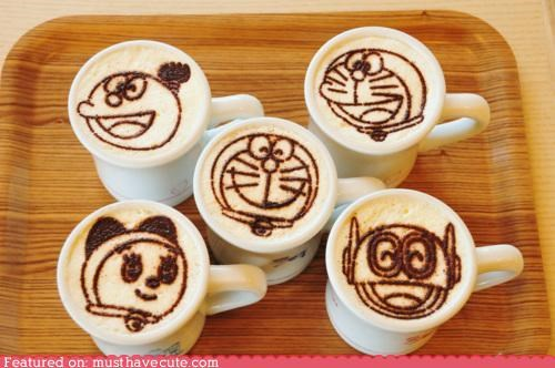 anime art characters coffee doraemon epicute faces foam latte milk