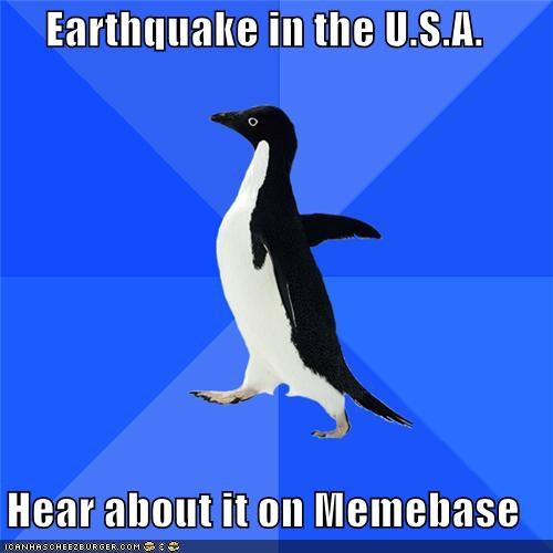 earthquake,memebase,news,socially awkward penguin