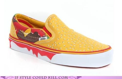 cheeseburger cheezburger crazy shoes sneakers vans - 5122687232
