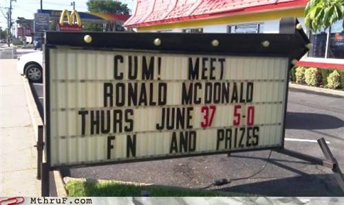 come,double entendres,inappropriate,McDonald's,sign