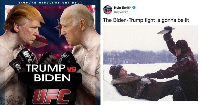 Funny twitter memes about donald trump fighting joe biden.