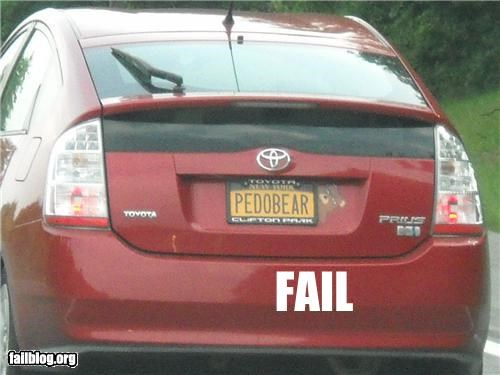 creepy failboat license plate pedobear wtf