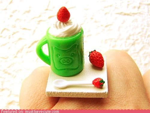 accessory,cream,ice,Jewelry,miniature,ring,spoon,strawberry,tiny