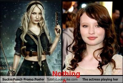 actors actress actresses blondes brunettes does not look like Emily Browning Movie movie poster Sucker Punch Totally Does Not Look Like