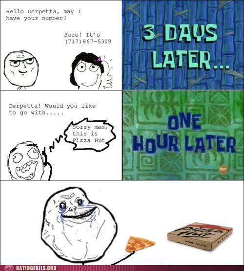 comic number pizza hut rage comic rejection We Are Dating wrong number