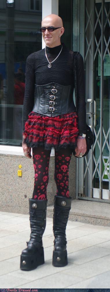 corset,cross dressing,leggings,platform shoes,skirt