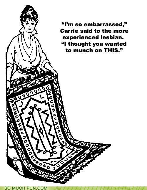 carpet double meaning inexperienced innuendo lesbian literalism misinterpretation mistake misunderstanding munch munching - 5126148864