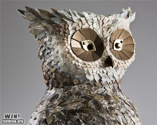 art,gallery,Owl,paper,papercraft,sculpture