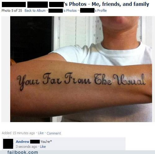 facepalm,grammar,really,spelling,tattoo