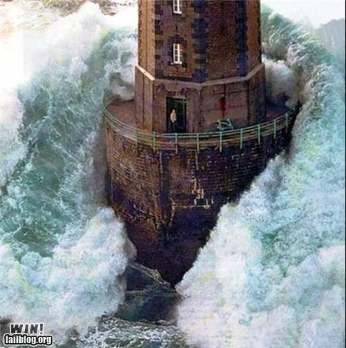 BAMF,dgaf,light house,storm,wave