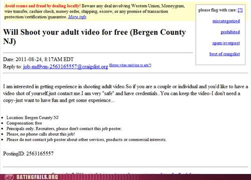 Screen shot of a Craigslist fail of a person offering to be a camera man to film adult films.
