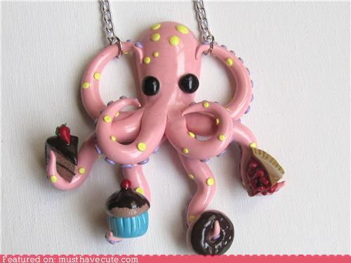 cake,donut,necklace,octopus,pendant,pie,snacks,sweets