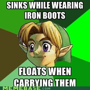 boots,float,iron,link,Memes,physics,video games,water,zelda
