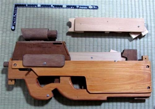 daily diy,DIY,FN P90,guns,Japan,rubber band gun,wooden