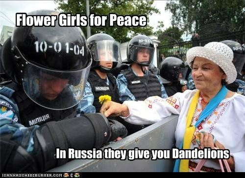 Flower Girls for Peace In Russia they give you Dandelions