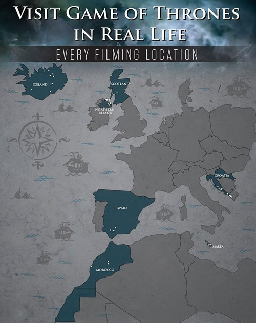 maps of shooting locations for Game Of Thrones episodes and scenes