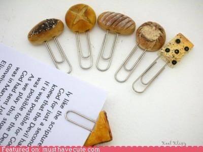 baked goods bread desk miniature Office paper clips - 5127888896