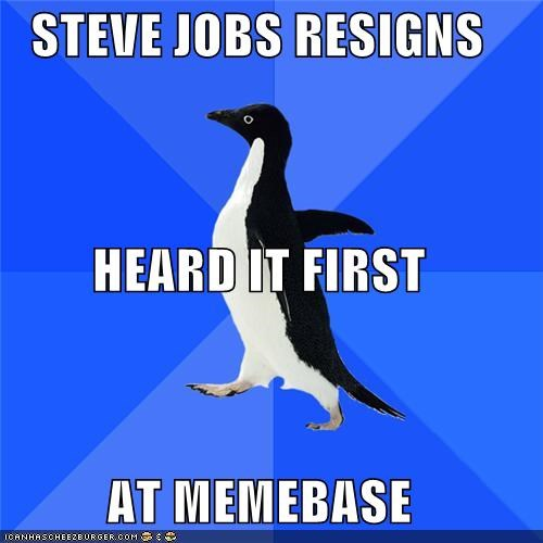news,resigns,sigh,socially awkward penguin,steve jobs