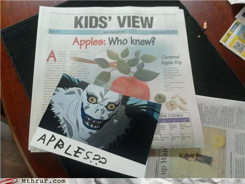 apple,apples,death note,manga,newspaper