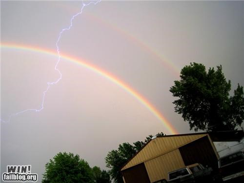 double rainbow house lightning mother nature ftw rainbow storm suburbia - 5130374400