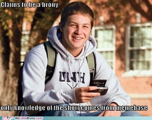brony college douche bag meme memebase uber frosh - 5130654464