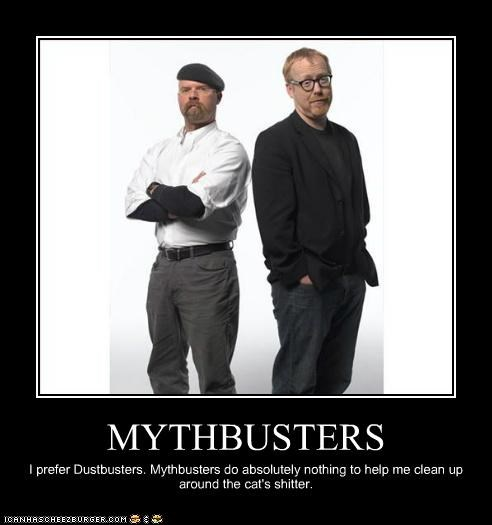 MYTHBUSTERS I prefer Dustbusters. Mythbusters do absolutely nothing to help me clean up around the cat's shitter.