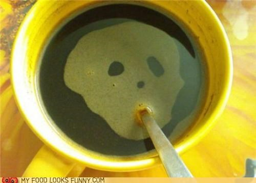 coffee,face,mouth,skull,spoon,straw,suck