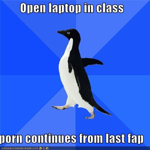 class computer fap laptop school socially awkward penguin - 5130793472