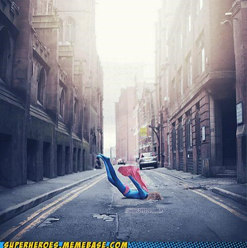costume falling Gravity ouch supergirl Superhero IRL