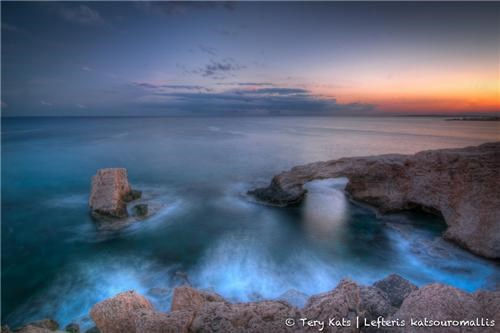blue,cape grecko,cyprus,eurasian,horizon,island,mediterranean,orange,sky,sunset