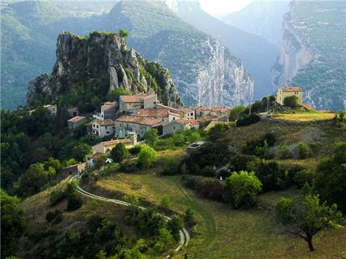 europe,france,gray,green,mountain village,mountains,quaint,secluded,village