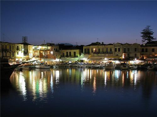 boats crete dock europe greece island mediterranean night nightime ocean port water